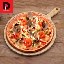 Фотография Dehomy Wood Pizza Pan Tray Wooden Paddle Peel Plate Pie Serving Board Pancake Baking Cut Stand Pizza Kitchen Tool Green Tablewar