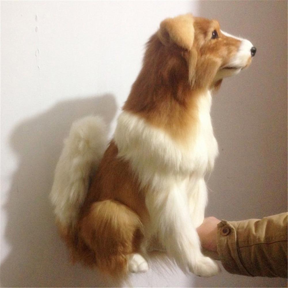 Fancytrader grand simulé Herding chien jouet réaliste en peluche Golden Retriever poupée accessoires de décoration
