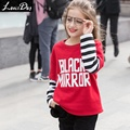 LouisDog Big Girls Sweatshirt Teenage Girl O neck Pullover Sweatshirts 100% Cotton Kids Patchwork Tops Size 12 13 14 15 16 Years