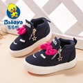 2016 Autumn brand fashion high top bowtie slip-on side zipper infantile miss girl baby sneakers child girls canvas casual shoes