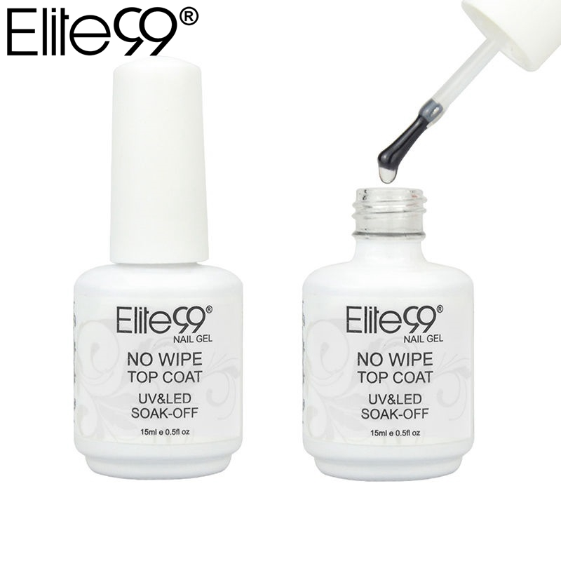 Elite99 No Wipe Top Coat For UV LED Gel Polish Nail Art Sealer No Tacky Layer Manicure 15ml UV Top Coat Sealer Gel Polish