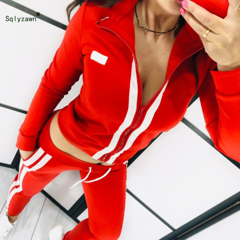 2019 Full Sleeve Patchwork Sexy Autumn Winter Tracksuit Women Set Outfit Fashion Two Pieces Suits Casual Overalls Jumpsuits New