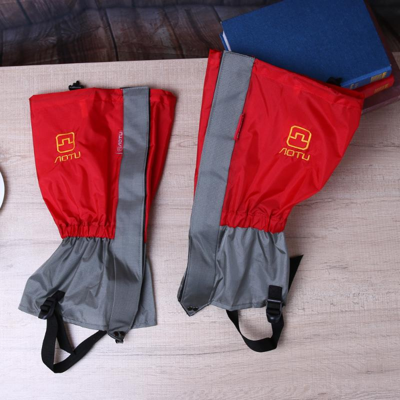 1pair Anti-dust Snow Gaiters Cover Winter Outdoor Leg Boots Cover Waterproof Skiing Gaiter Cover Legwarmers Red Leg Guard
