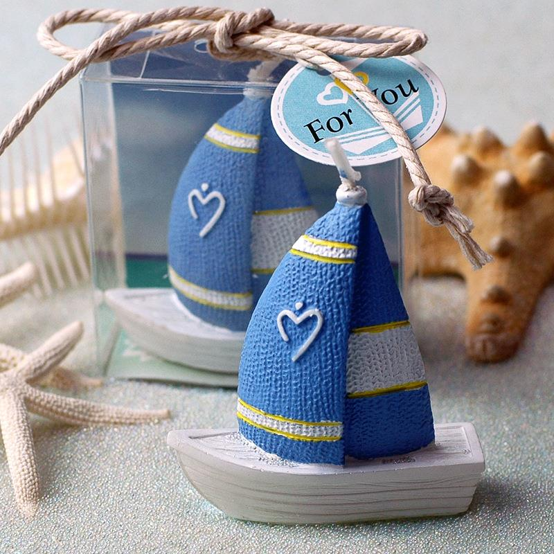 Sailing Boat Smookless Candle Baby Shower Baptism Party