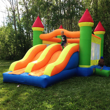 лучшая цена Inflatable Bouncy Castle Combo Bouncer With Two Big Slide Obstacle Course Inflatable Trampoline 6.5X4.5X3.8M Inflatable Games