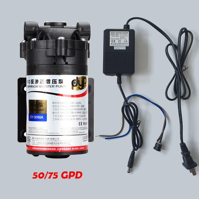 Water Filter DC24v Water Booster Pump High Pressure with DC24v 1.5A Transformer for 50/75GPD Machine Increase RO System Pressure ro water filter parts 24vdc water pump high pressure booster for 50 75 gpd machine increase reverse osmosis system pressure