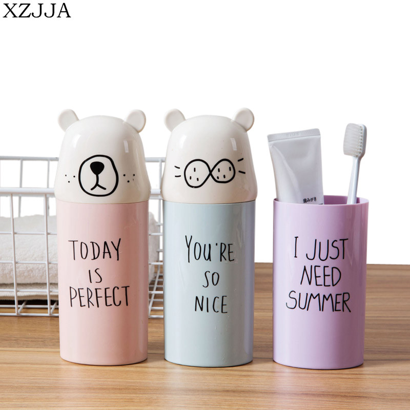 XZJJA Cartoon Travel Toothbrush Organizer Tableware Fork Spoons Protect Container Portable Tooth Brush Storage Box