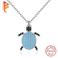Fashion 925 Sterling Silver Animal Turtle Necklace & Pendants Blue Crystal Necklace Women Sea Jewelry Christmas Gifts