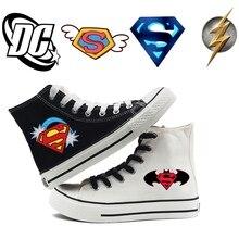 Superman Batman Super hero logo Cartoon Printing high top breathable canvas uppers sneakers student personali fashion Casual