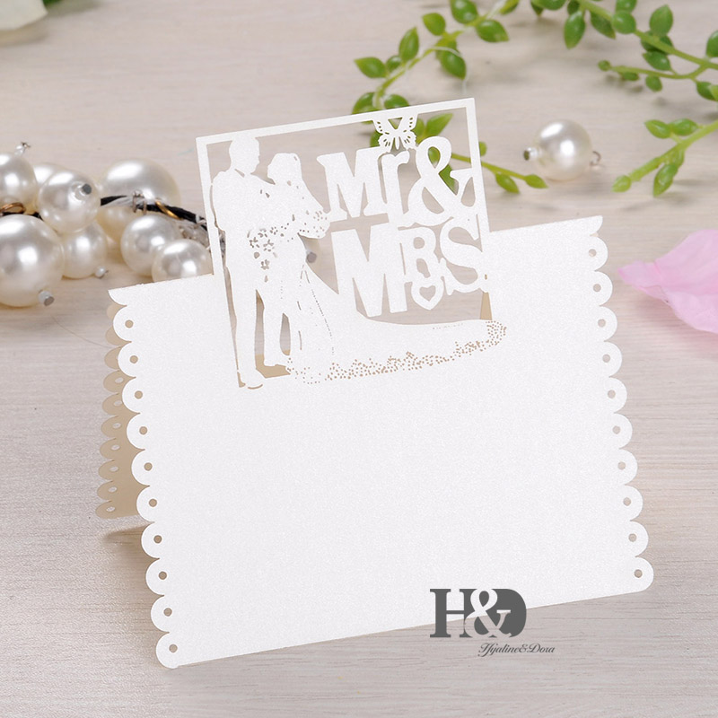 buy 120pcs ivory laser cut mr mrs bride groom romantic place cards wedding name cards party table decoration from