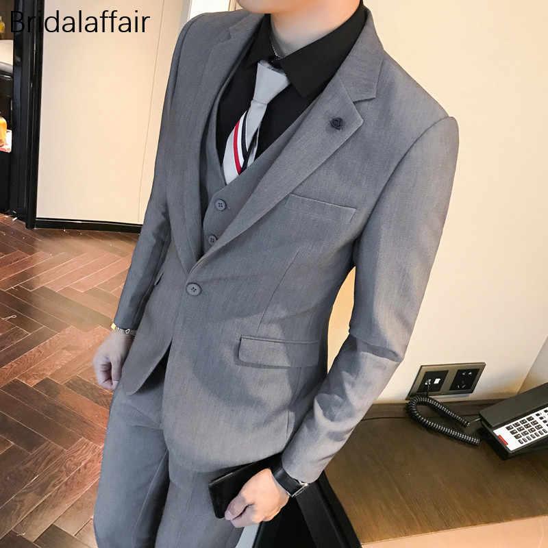 Замечательный фиолетовый Для мужчин костюмы комплект со смокингом жениха для свадьбы или праздничного обеда Для мужчин последние конструкции пальто брюки мужской костюм 3 предмета (куртка + штаны + жилет)
