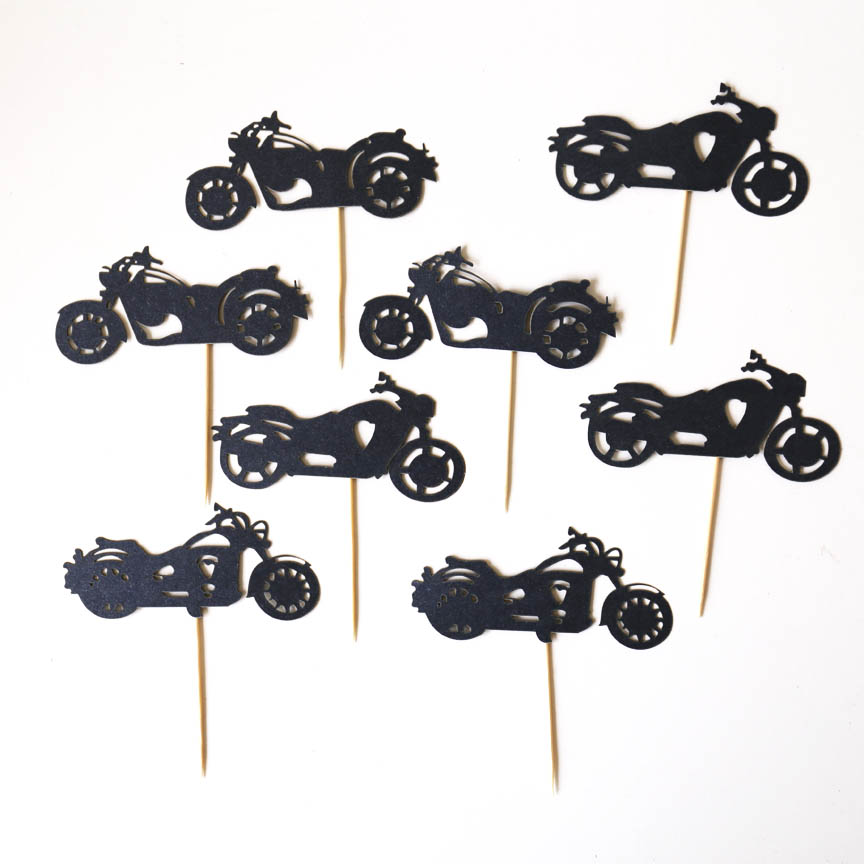 Motorcycle Cupcake Toppers,Set of 24pcs cupcake toppers ...