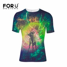 FORUDESIGNS Galaxy Universe Space T shirt for Men Bodybuilding Fitness Mens 3D Wolf tshirt Casual Tee Shirts Male Clothes Tops