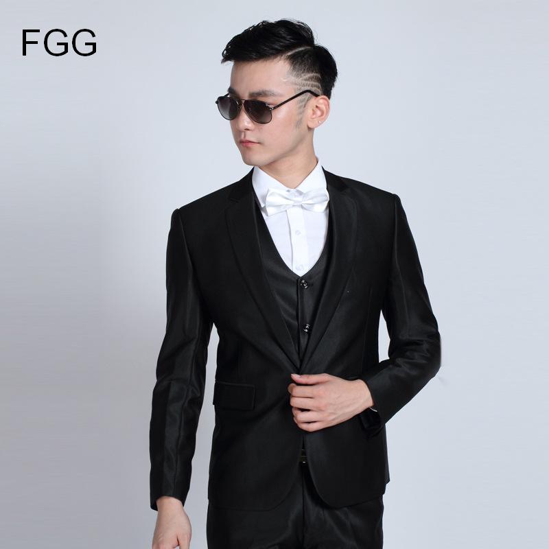 Moda para hombre chaqueta de fumar Pantalones caballero negro brillante boda  Trajes para hombres traje slim 76afa19ba13
