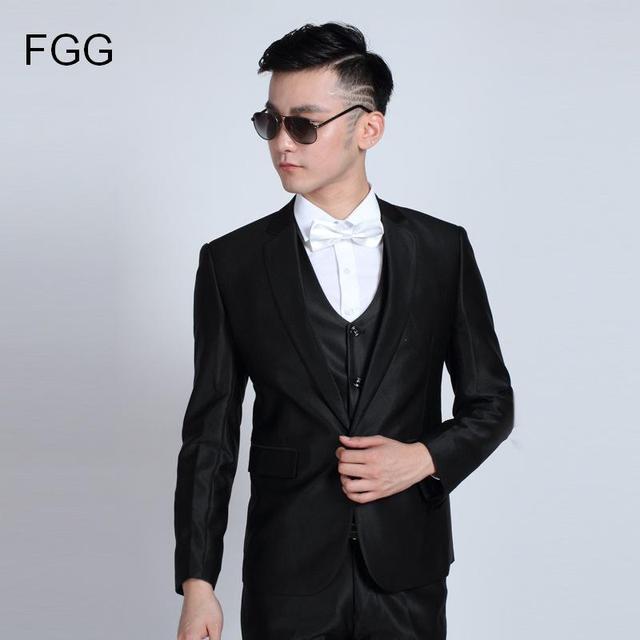 d2d647159a19c Moda Para Hombre Trajes de Boda Smoking Jacket Pantalones Caballero Negro  Brillante Traje De Los Hombres