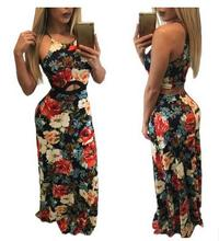 Summer new women casual sexy retro 3D Floral printing bohemian beach exposed umbrella dress