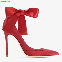 Elegant Pointed Toe High Heel Red Satin Pumps Dress Shoes for Women Ankle Wraps Stiletto Heels Summer Shoes
