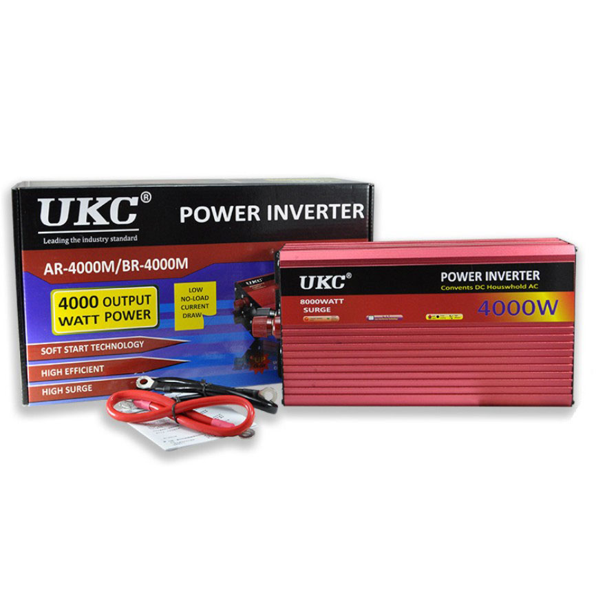 2000W 3000W 4000W <font><b>Car</b></font> Power Inverter Converter DC <font><b>12V</b></font> <font><b>To</b></font> AC <font><b>220V</b></font> 50HZ Full Protection AC Power Inverter USB Charger <font><b>Adapter</b></font> image