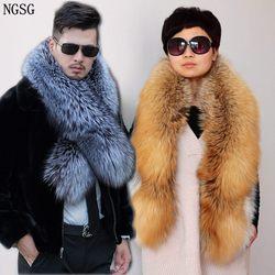 NGSG سيدة حقيقية الطبيعية الثعلب الفراء وشاح زوجين الفراء وشاح طوق الرجال الشتاء الدافئة الفاخرة رقيق ريال الفضة الثعلب الأوشحة شال