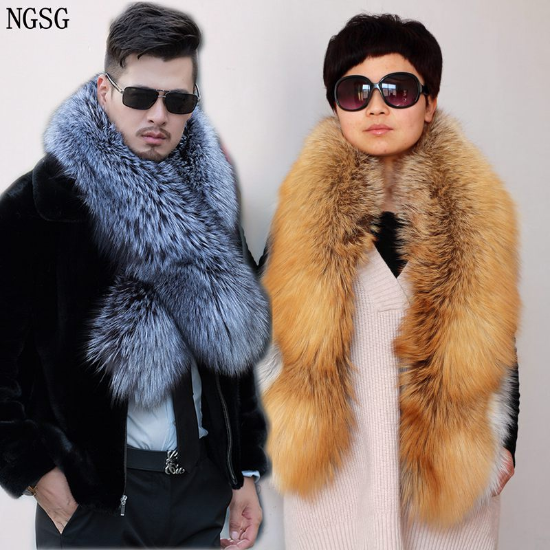 NGSG Lady Genuine Natural Fox Fur Scarf Couple Fur Scarfs Collar Men Winter Warm Luxury Fluffy Real Silver Fox Scarves Shawl