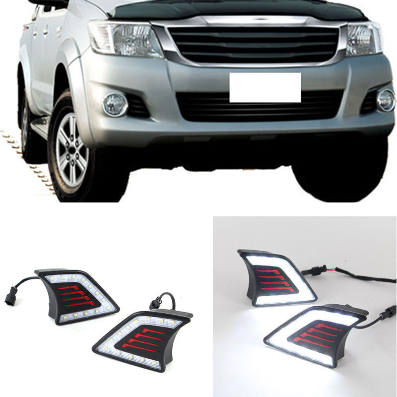 Car Styling LED DRL Daytime Running Light Super-bright Fog Lamp For Toyota Hilux Vigo 2012 2013 2014 Accessories Car-Styling akd car styling led drl for toyota reiz 2012 2013 mark x eye brow light led external lamp signal parking accessories