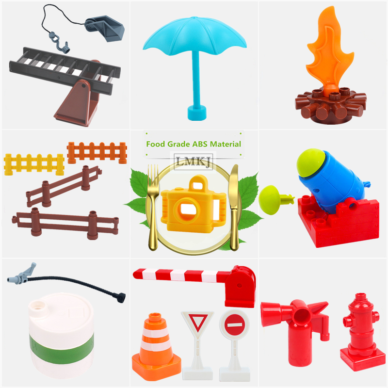 DIY Kid Toys Traffic Signs Fire Extinguisher Fence Duploe Building Blocks Accessories Ladder Camera Parts Duploed Bricks