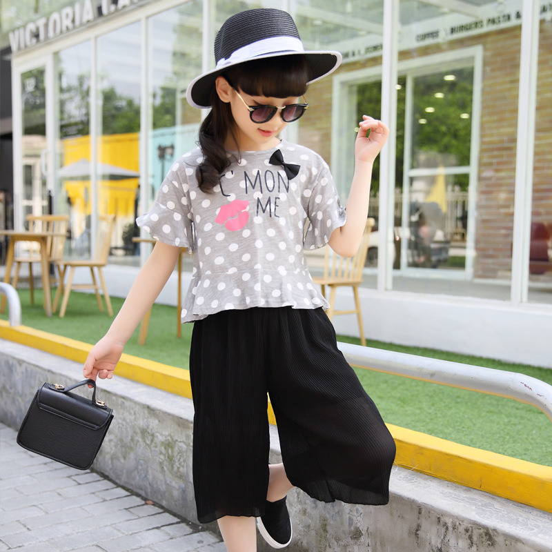 new girl's summer lips T-shirt + wide leg pants children clothing vestido infantil