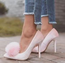 Hot Selling Women Heels Pink Pumps Women Shoes Pointed Toe Pom Pom Office Ladies Dress Shoes High Quality Wedding Shoes Bride fashion silver mirror leather high heel shoes women pointed toe pom pom cute pumps party shoes woman
