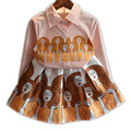 Moda Primavera Otoño de los Bebés Ropa Trajes Votton Blusa Estampada de Manga Larga + Falda 2 unids Ropa Niñas Establece Niño ropa