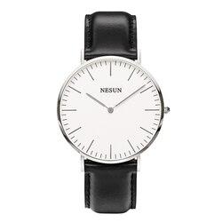 Zegarek szwajcarski nesun mężczyźni luksusowej marki japan miyota mechanizm kwarcowy zegarki męskie prawdziwej skóry wodoodporny zegar N8801-LM3
