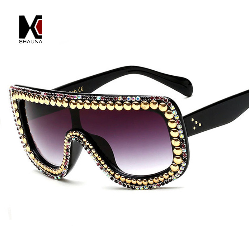 SHAUNA Mode Frauen Kristall Dekoration Verbunden Sonnenbrille Glänzende Strass Rim Sonnenbrille