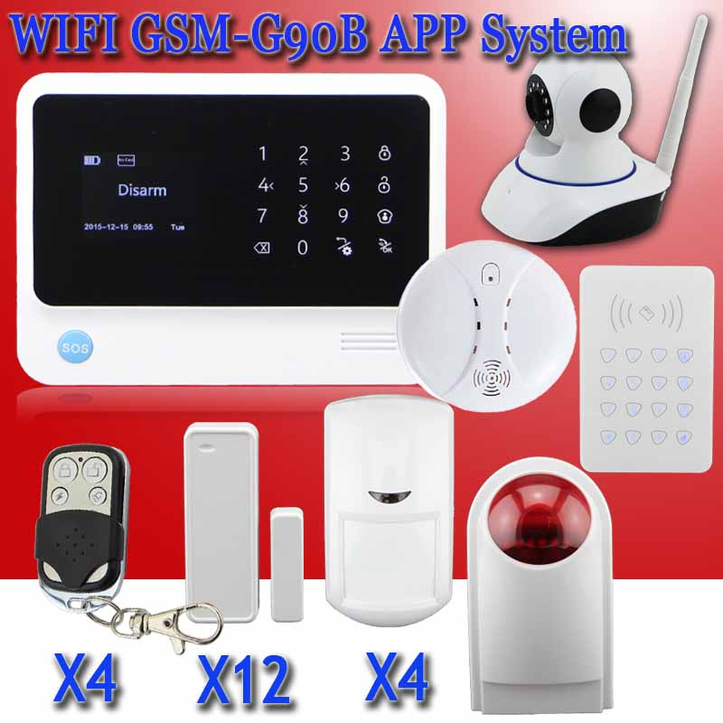 Free shipping 2016 G90B WIFI GSM alarm system with surveillance IP camera RFID keypad home security