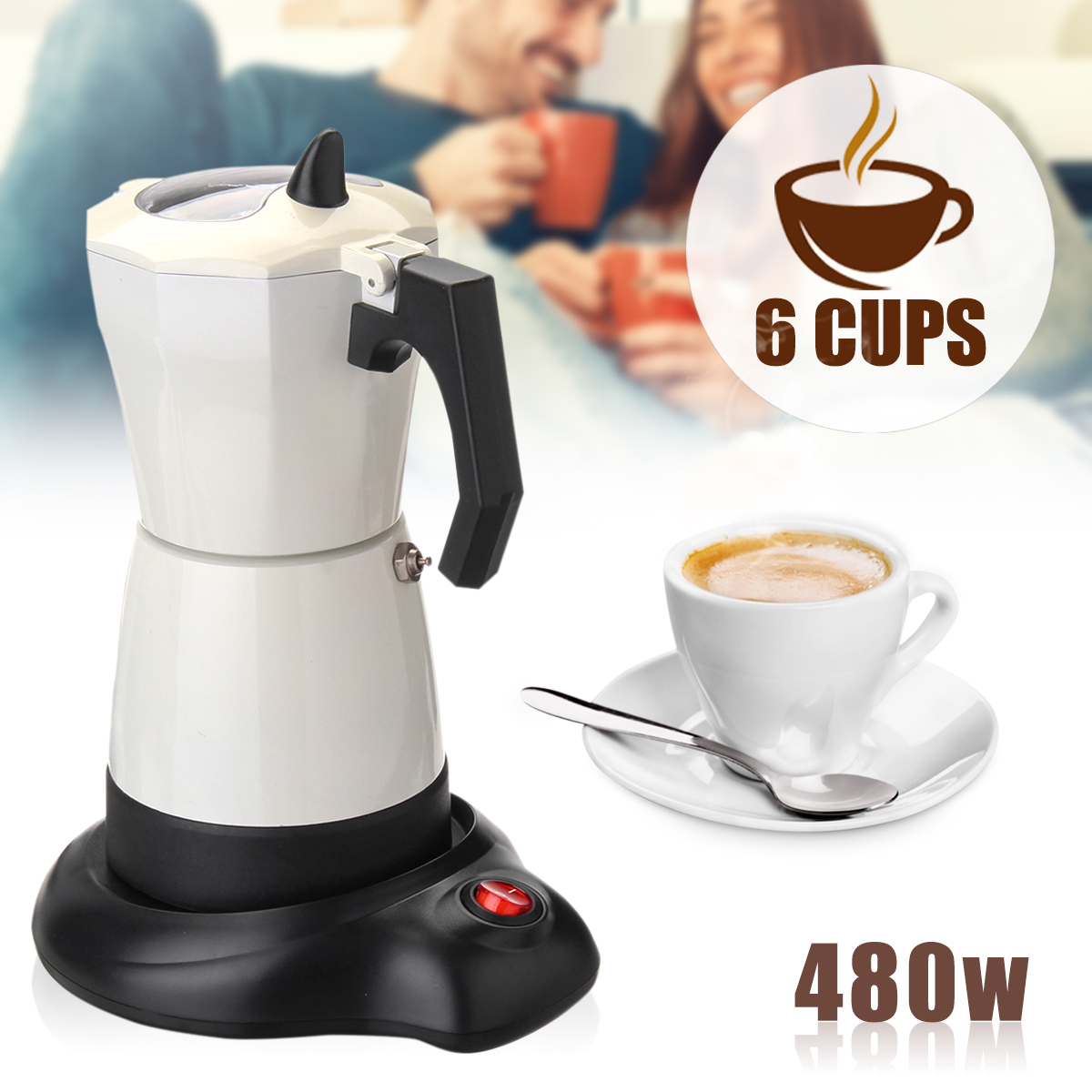 5 Minutes Coffee Maker 480W 6 Cups Electric Coffee Machine Tea Coffee Pot Mocha Kettle Removable Kitchen Tool Home Office 220 240v 480w electric mocha potty italian coffee pot home office electric heating coffee coffee mocha coffee equipment 6 cups