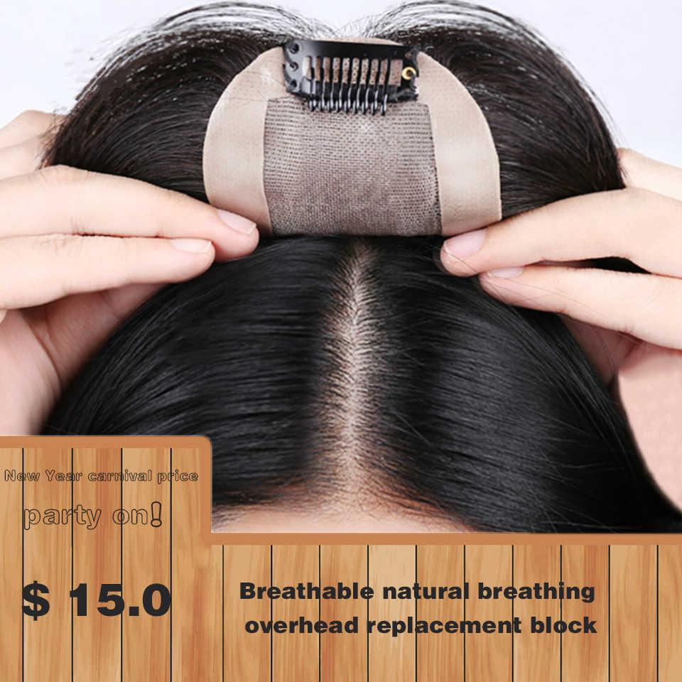 Tupé Allaosify con flequillo liso intermedio de seda Base Topper peluches para mujeres Clip sintético en extensiones de cabello