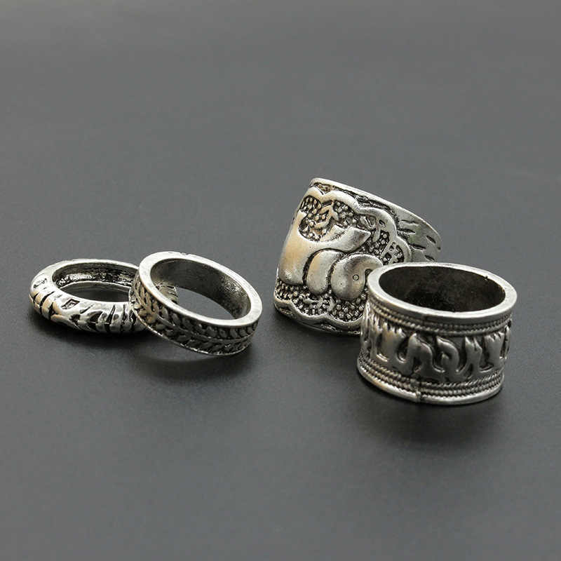 Punk Carving Ancient Elephant Shape Rings Metallic Midi Rings Wide Thin Golden Silver for Women 4 pcs/set