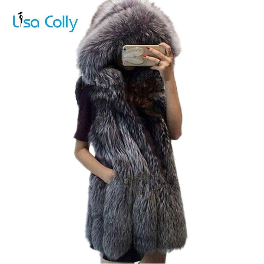 Lisa Colly 2018 Mulheres Fashion Faux Fox Colete De Pele Casaco com Capuz Grosso Quente Colete Casaco de Peles Mulheres Outerwear Falso colete de pele Casaco