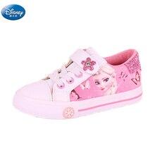 المجمدة بنات الوردي حذاء كاجوال ديزني إلسا وآنا الأميرة بولي pu أحذية رياضية لينة أوروبا حجم 25 36