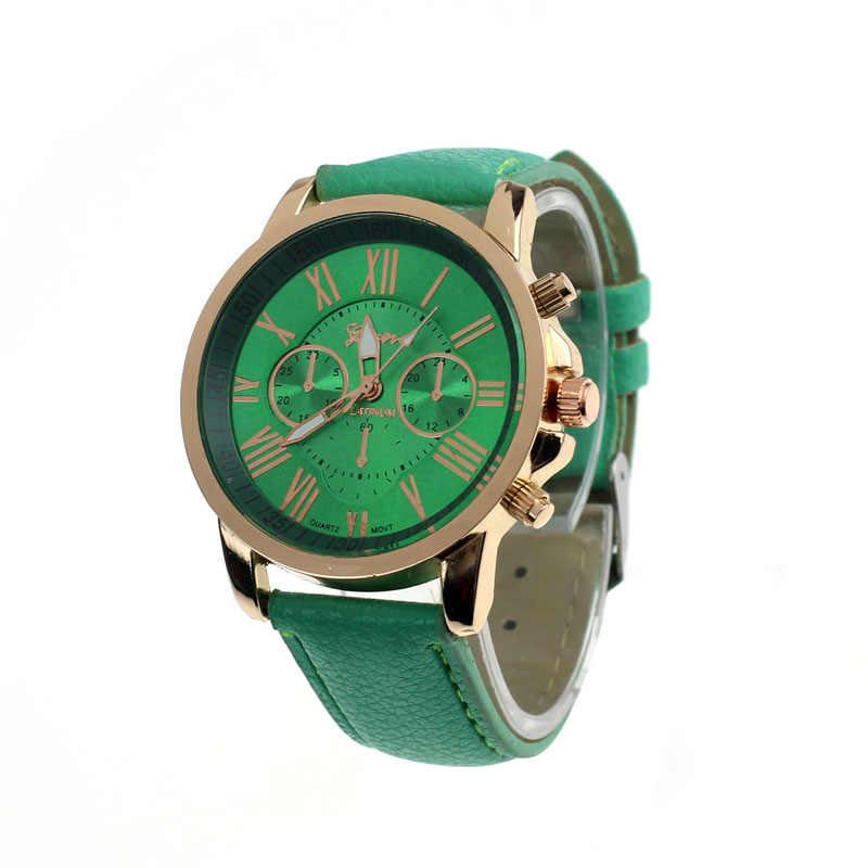 נשים אופנה צבע רצועת דיגיטלי חיוג רצועת עור קוורץ אנלוגי יד שעונים שעונים נשים קוורץ שעון נשים 2018 שעות