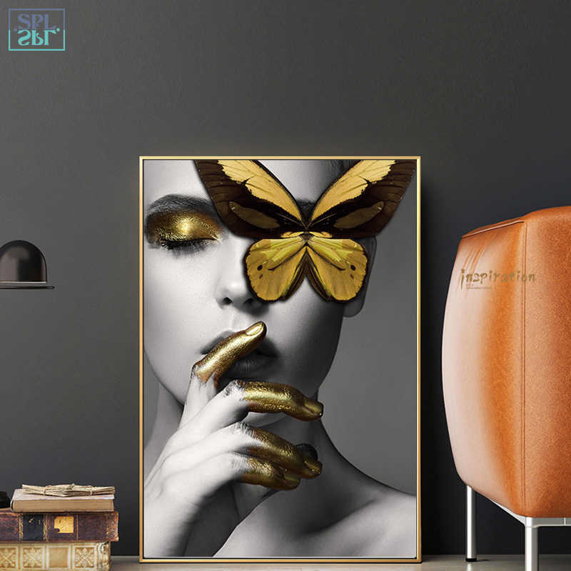 SPLSPL Unframed Moderne Wand Kunst Bilder Mode Schmetterling Kuss Frau Lippen Gold Schönheit Leinwand Druck Malerei für Wohnkultur