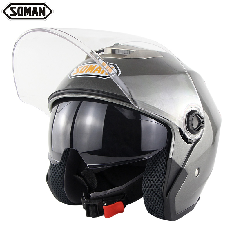 SOMAN SM517 Double Visières Scooter Casques Chopper Vintage Casco Moto Casque Moto Open Face Casque DOT Approbation
