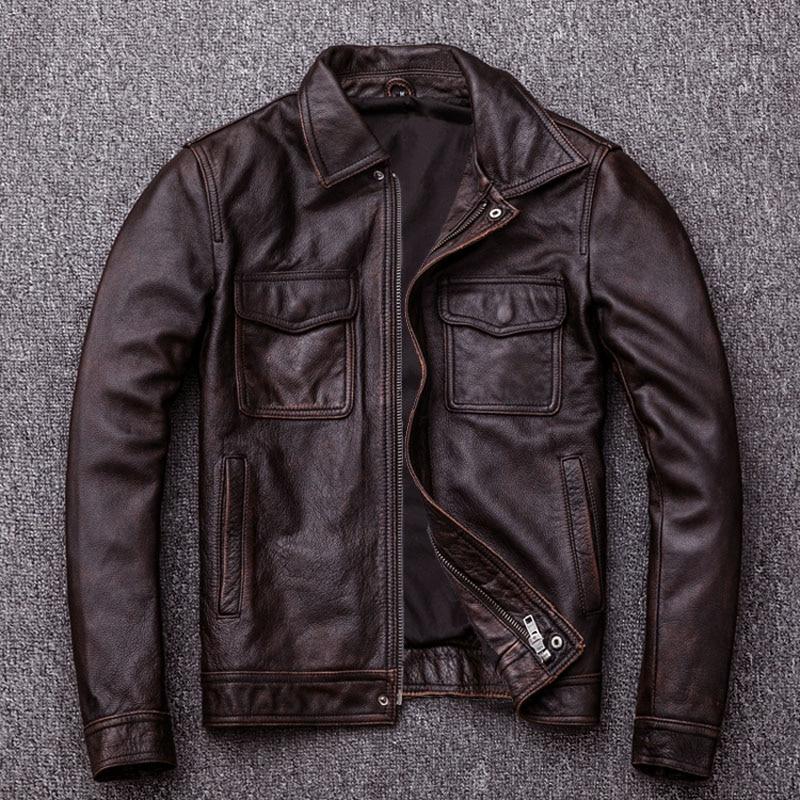HTB1K89HlpkoBKNjSZFEq6zrEVXaL MAPLESTEED Brand Vintage Leather Jacket Men 100% Cowhide Red Brown Black Natural Leather Jackets Men's Leather Coat Autumn M174