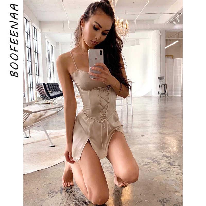 BOOFEENAA セクシーなサテンスパゲッティストラップスリットミニドレスとガードルヴィンテージ Vestidos ナイト着用夏ドレス C77-AA27