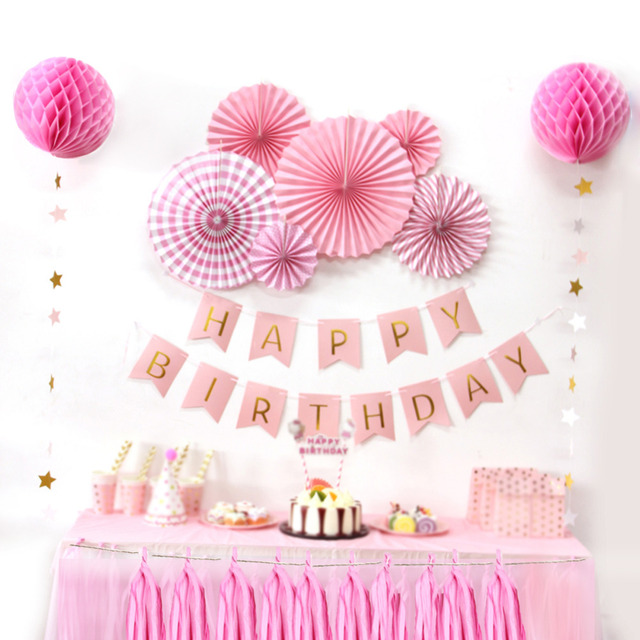 12pc Pink Theme Happy Birthday Paper Decoration Kit Diy Kids Party