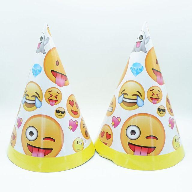 6pcs Lot Emoji Paper Hats Kids Birthday Wedding Party Supplies Theme Caps Happy Cap