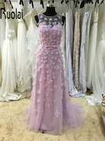 2017 Hot Sale Beautiful Pink Tulle Evening Dresses A Line Flowers Beading Sashes Bow Sheer Back Evening Gown Prom Party