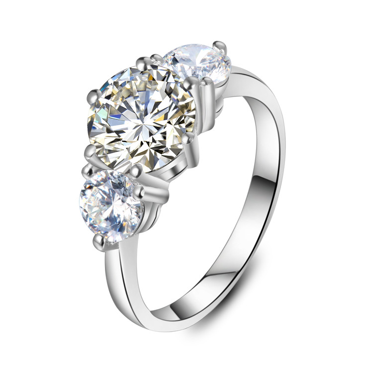 THREEMAN Three Stone 2CT Gorgeous Sterling Silver White Gold Color Excellent Synthetic Diamonds Ring for Women Wedding Jewelry