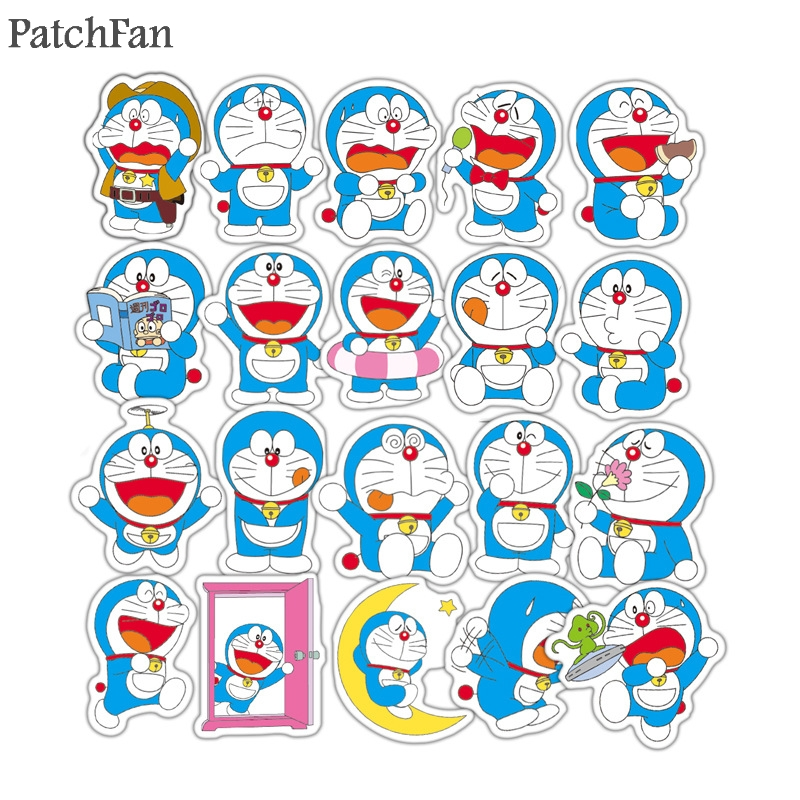 Patchfan 61pcs Doraemon funny Pvc Stickers For diy home decoration scrapbooking Luggage Skateboard Laptop Wall Guitar A1766 in Stickers from Home Garden