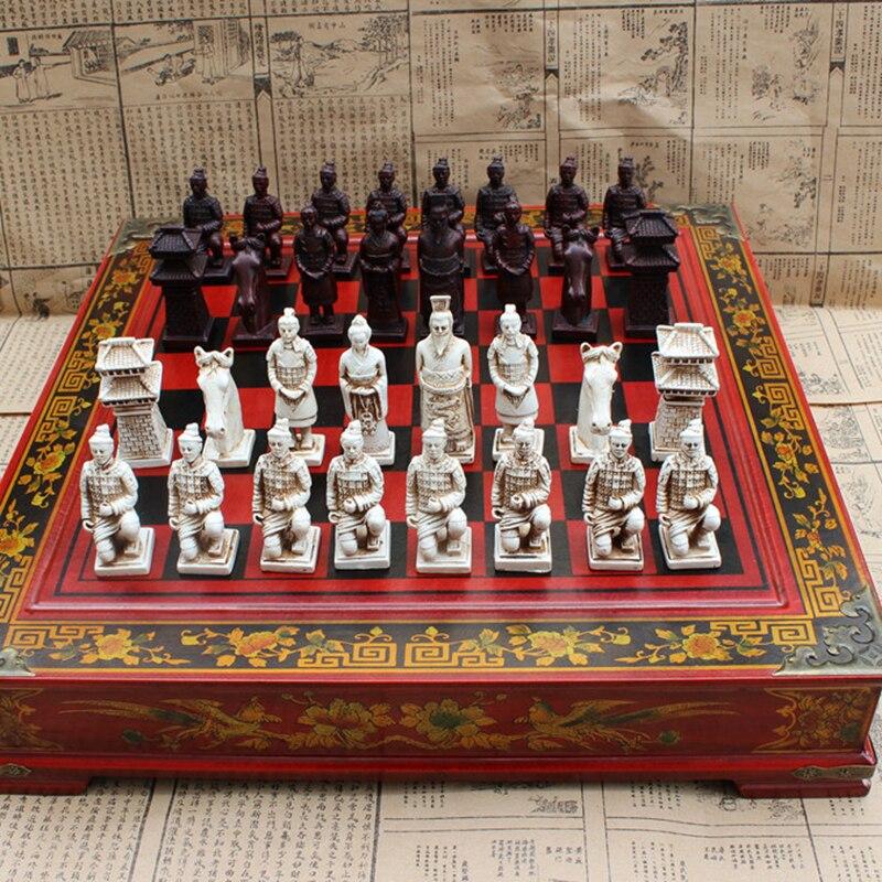 Элитные коллекционные вещи Винтаж Китайский терракотовый воины шахматы лучший подарок для лидеров друзей семья 26,5*26,5 см * см 6 см