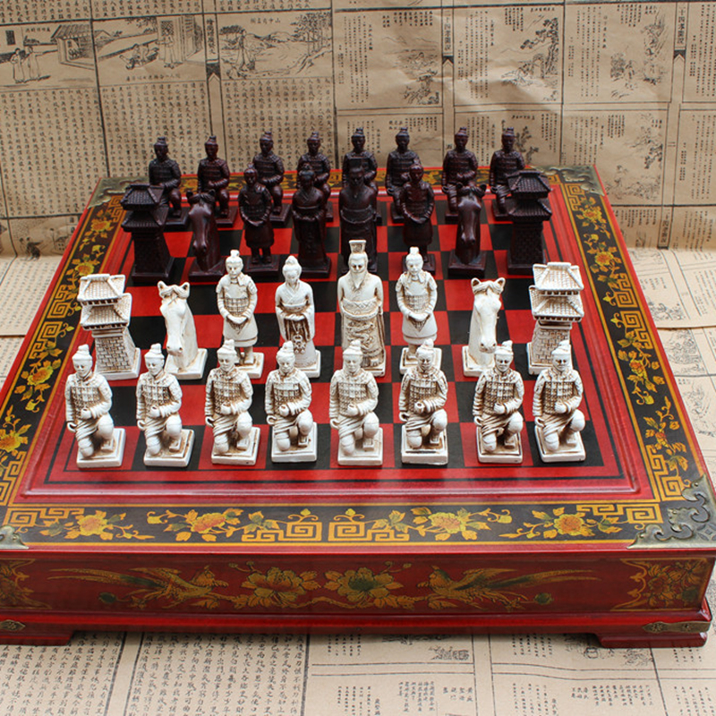 High-end Collectibles Vintage Chinese Terracotta Warriors Chess Set Best gift for Leaders Friends Family 26.5*26.5cm*6cm