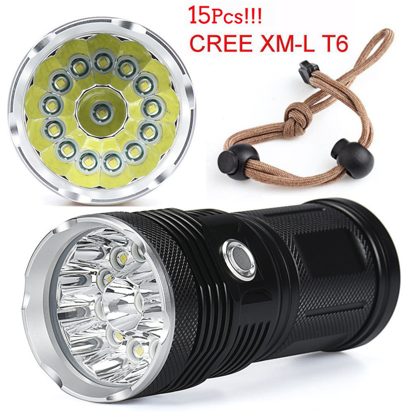 High Quality 38000LM 15x CREE XM-L T6 LED Flashlight Torch 4x 18650 Hunting Light Lamp